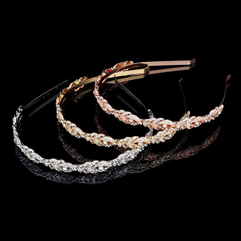 """Analise"" - Crystal Bridal Headband - Available in Rose Gold, Silver and Yellow Gold"