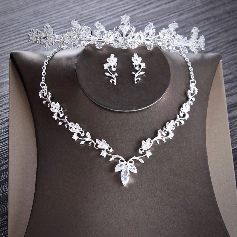 Wedding Jewelry - Silver Cubic Zirconia Bridal 3-Piece Jewelry Set With Tiara