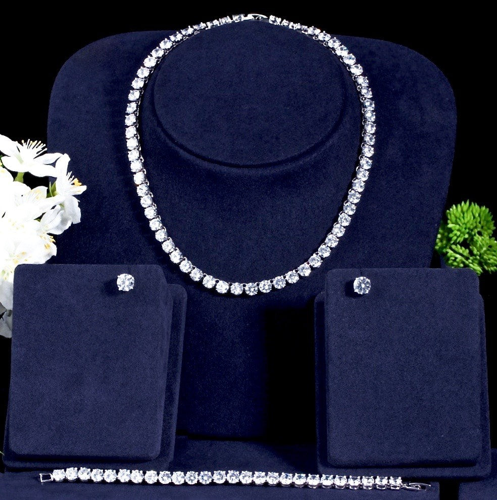 Wedding Jewelry - Silver Cubic Zirconia Bridal Three-Piece Jewelry Set