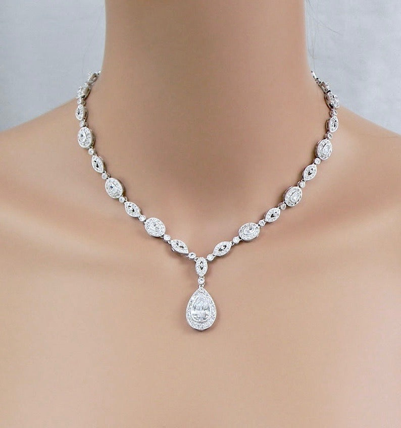 Wedding Jewelry - Cubic Zirconia Bridal Backdrop Necklace - Available in Rose Gold and Silver