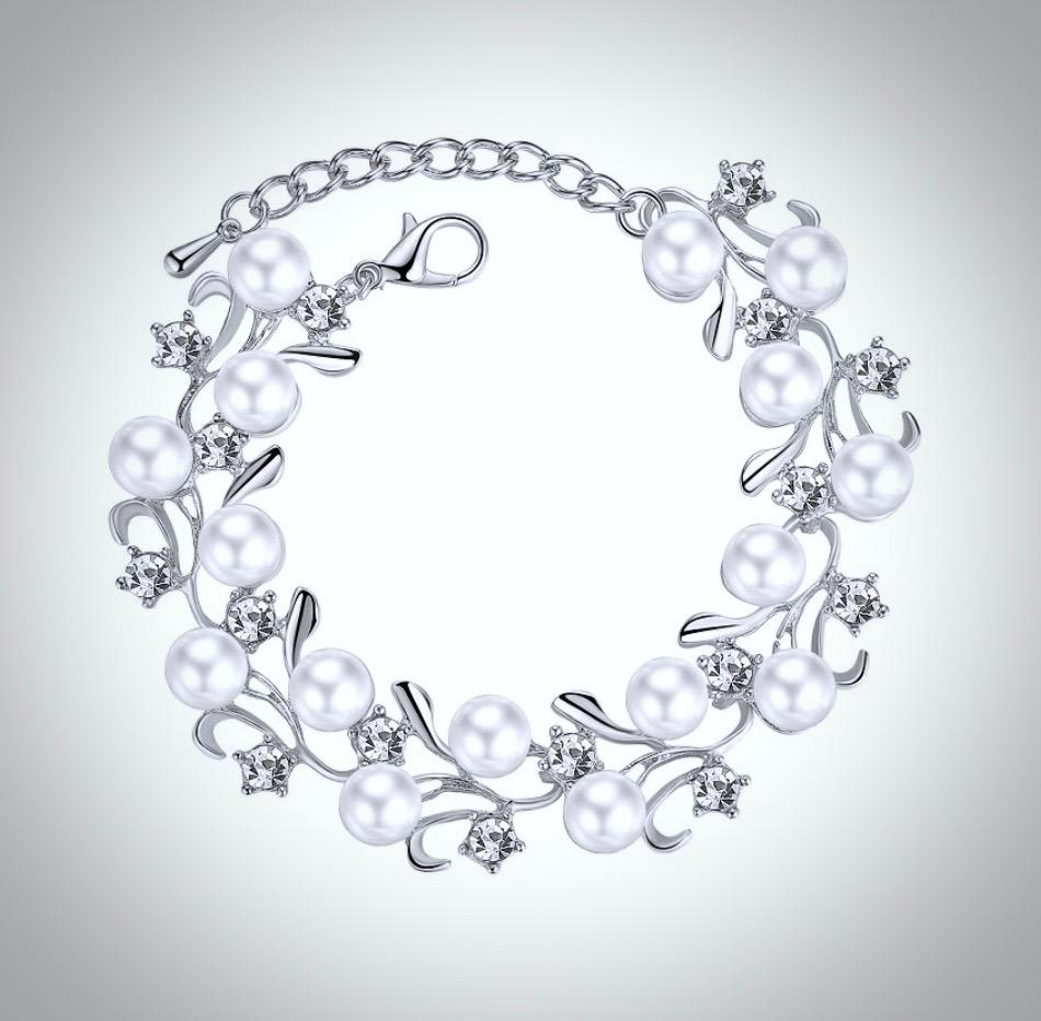 Pearl Wedding Jewelry - Pearl and Rhinestone Bridal Bracelet