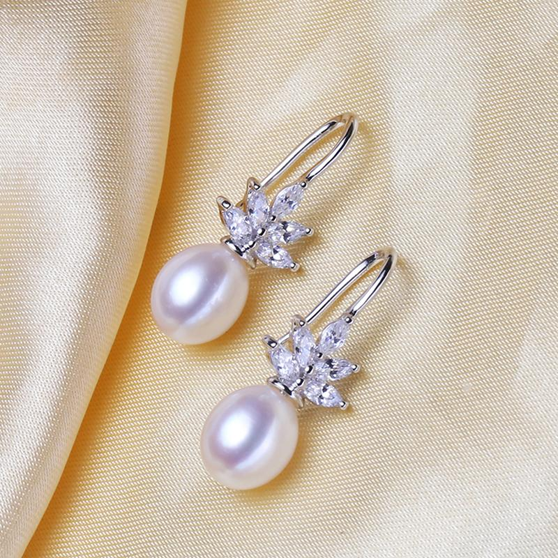 Wedding Jewelry - Pearl and Cubic Zirconia Snowflake Bridal Earrings - More Colors