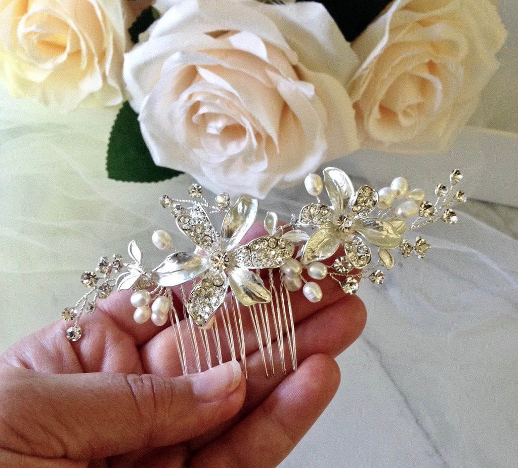 Wedding Hair Accessories - Pearl Bridal Hair Comb - Available in Silver and Rose Gold