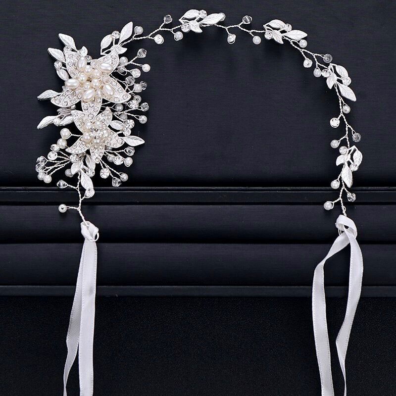 Wedding Hair Accessories - Pearl and Crystal Bridal Headband - More Colors