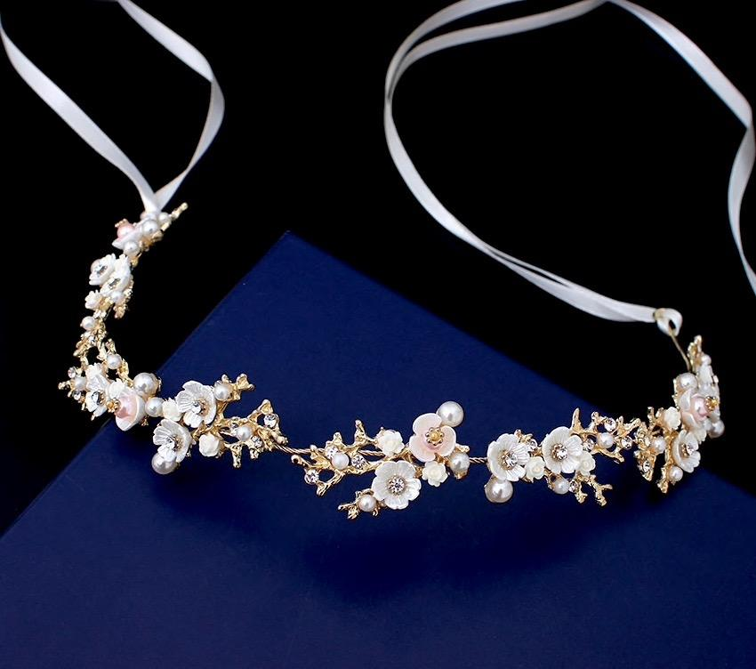 Wedding Hair Accessories - Pearl and Crystal Bridal Headband - Available in Gold and Silver