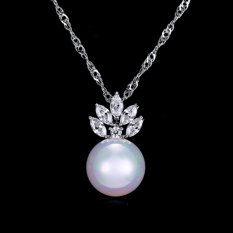 Wedding Pearl Jewelry - Pearl and Cubic Zirconia Jewelry Set