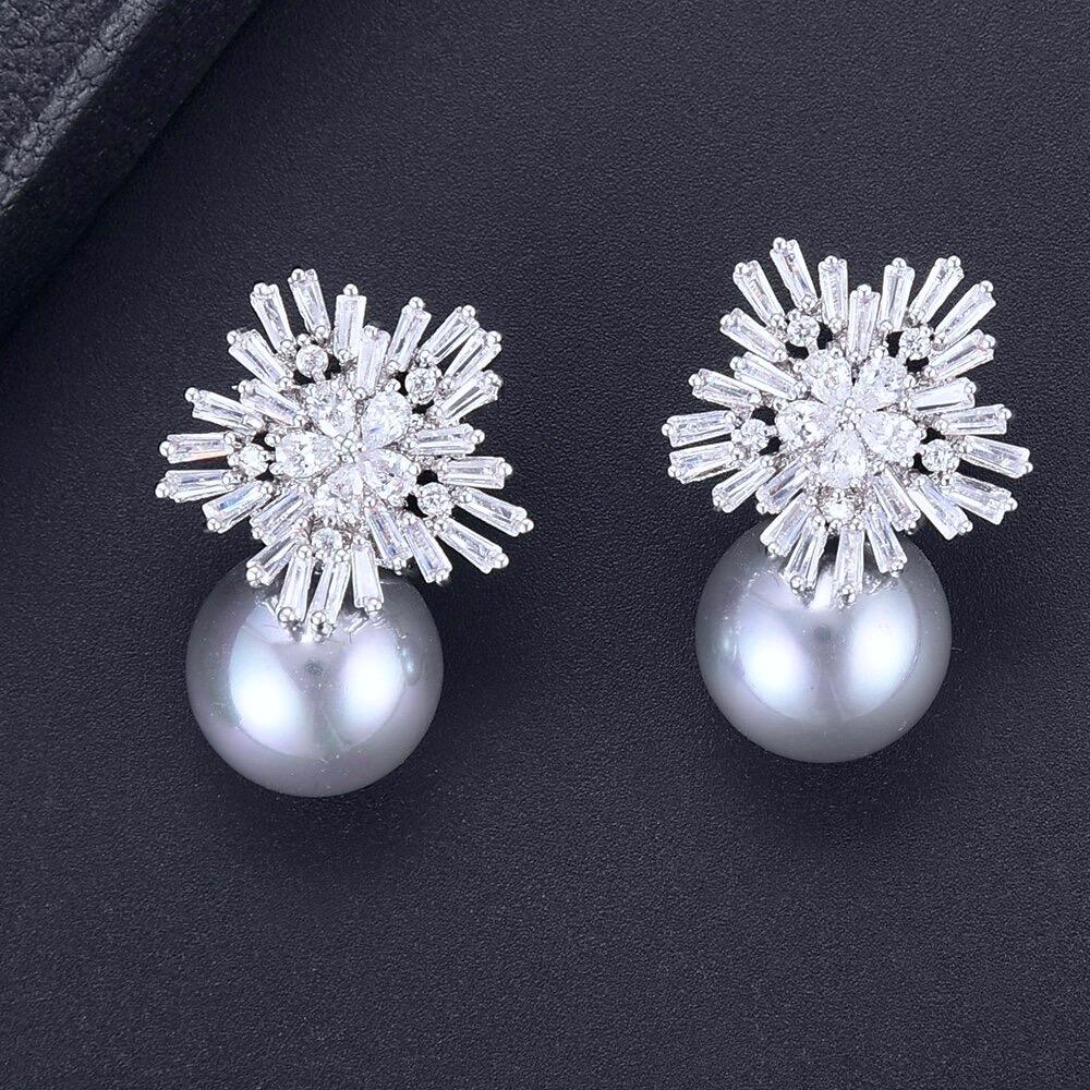Wedding Jewelry - Pearl and Cubic Zirconia Snowflake Bridal Earrings