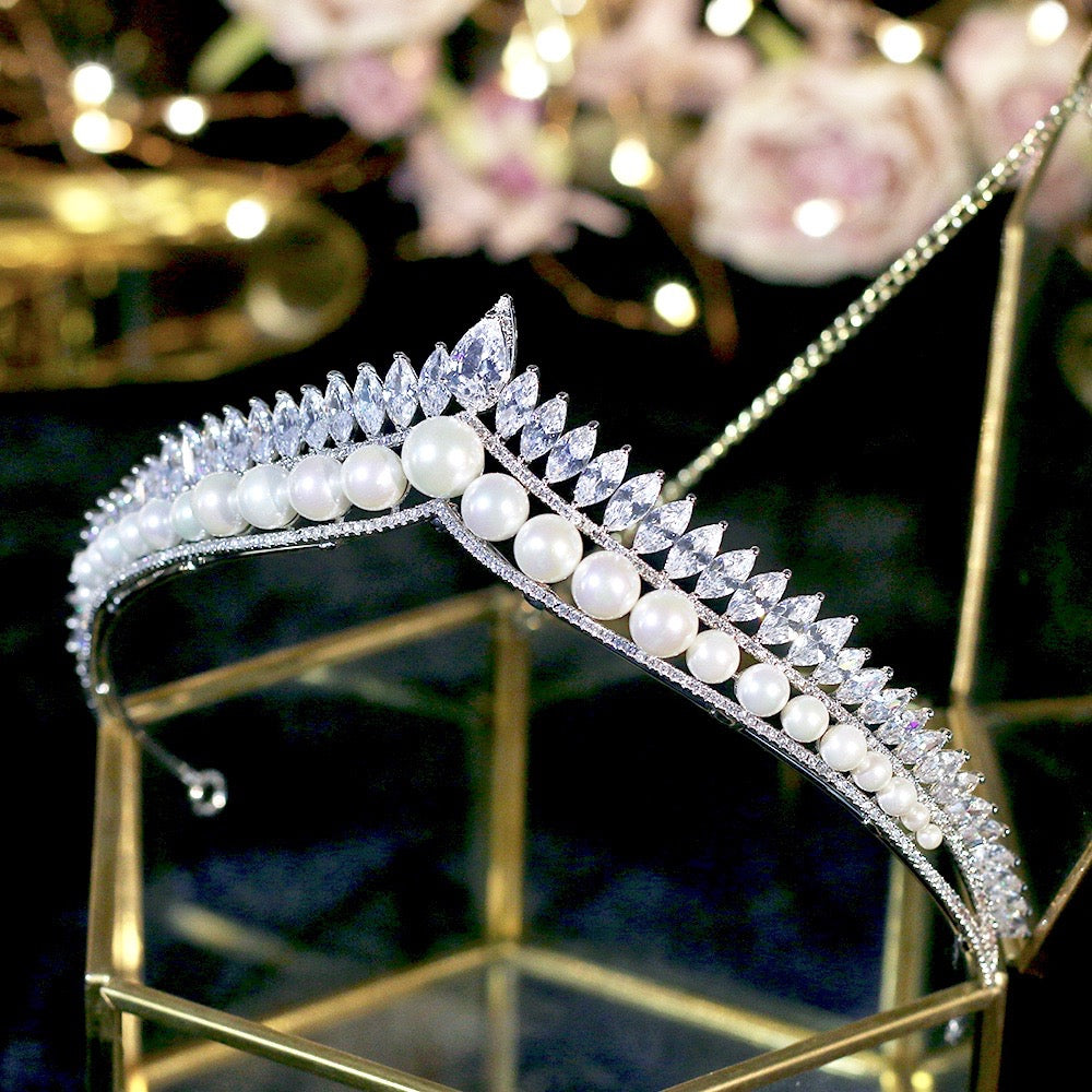 Wedding Hair Accessories - Silver Pearl and Cubic Zirconia Tiara