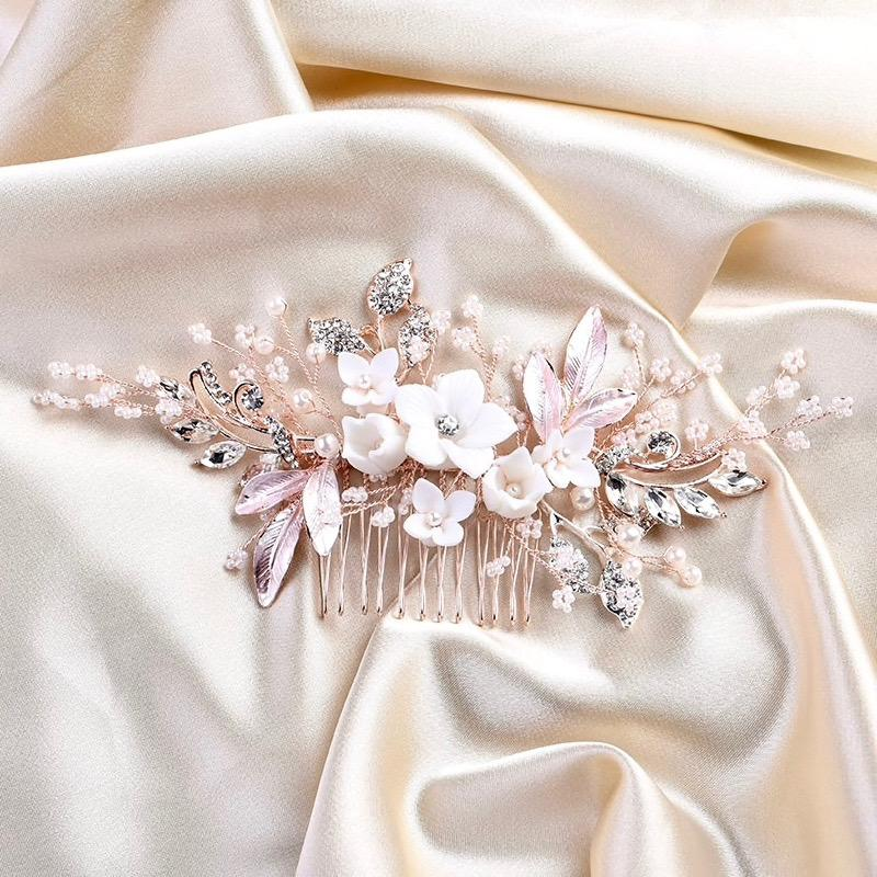 Wedding Hair Accessories - Silver Pearl and Crystal Bridal Hair Comb - Available in Silver and Rose Gold