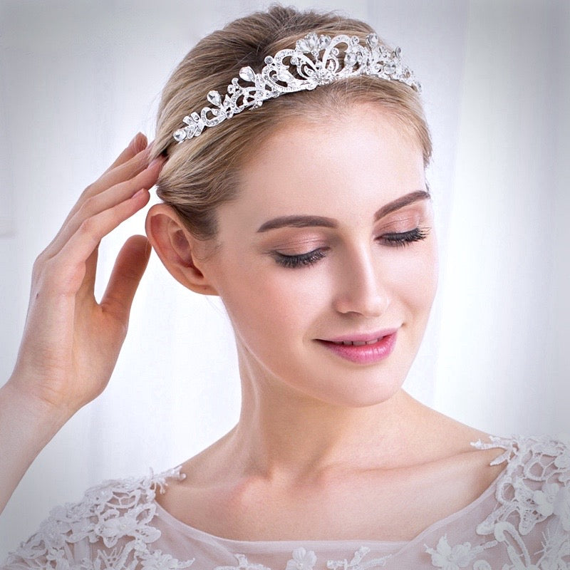 Wedding Hair Accessories - Rhinestone Bridal Tiara - Available in Silver and Yellow Gold