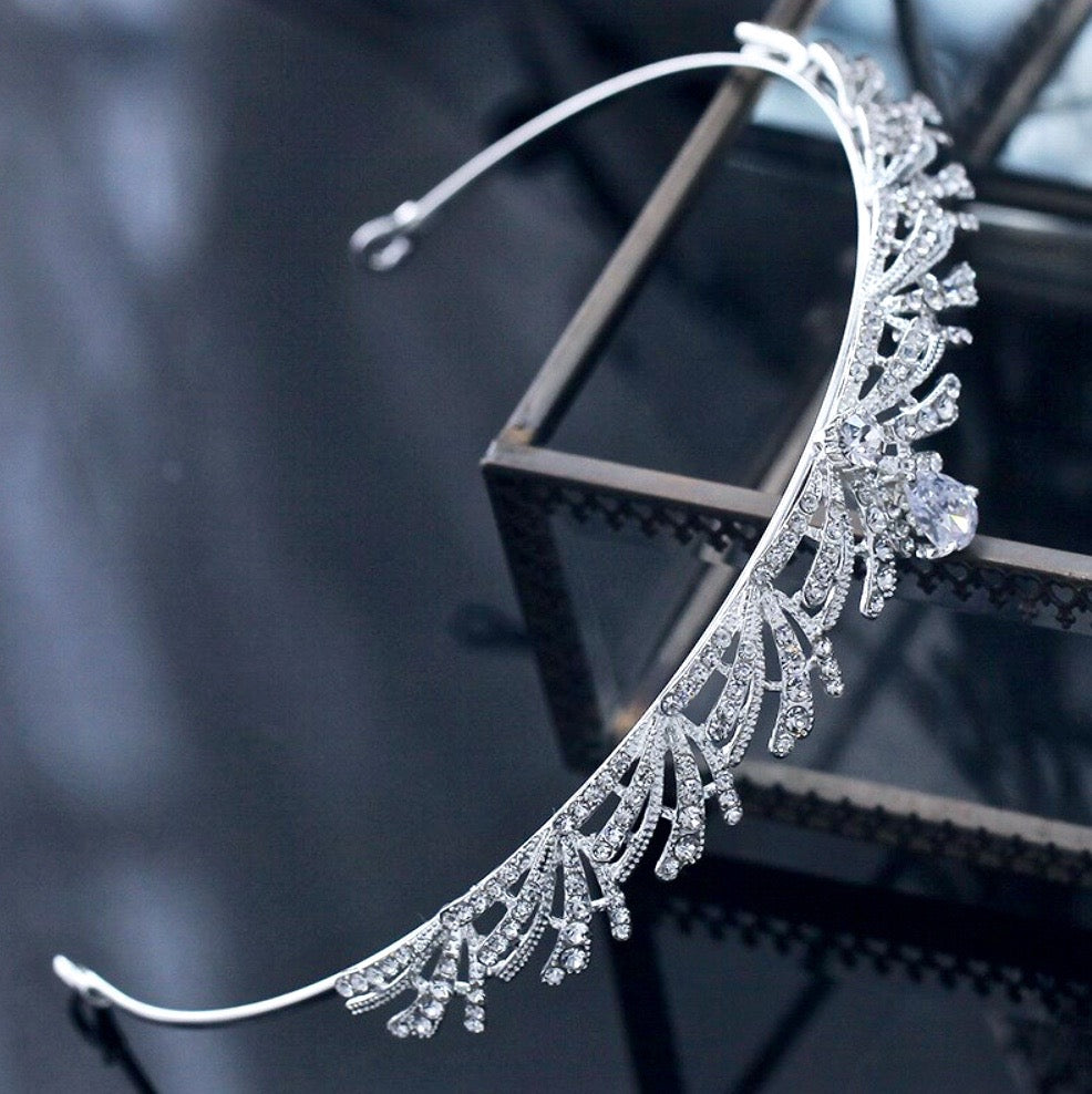 Wedding Hair Accessories - Silver Cubic Zirconia Bridal Tiara