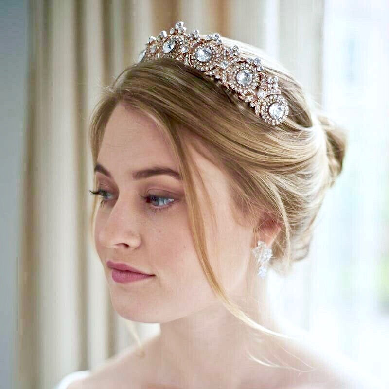 Wedding Hair Accessories - Rhinestone Bridal Tiara - Available in Rose Gold and Silver
