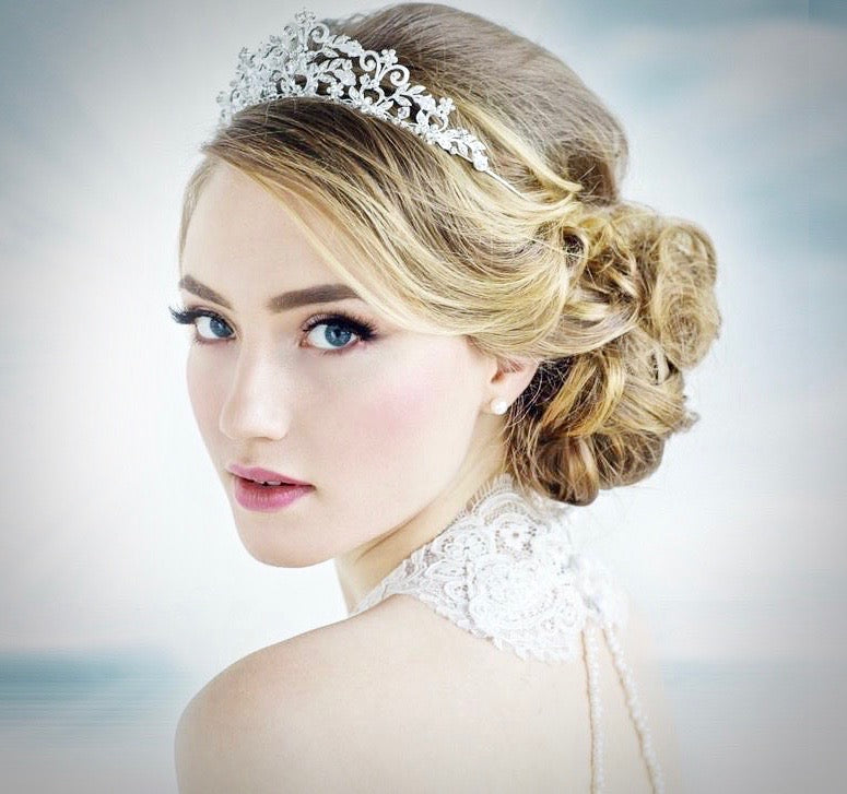 Wedding Hair Accessories - Pearl and Cubic Zirconia Bridal Tiara