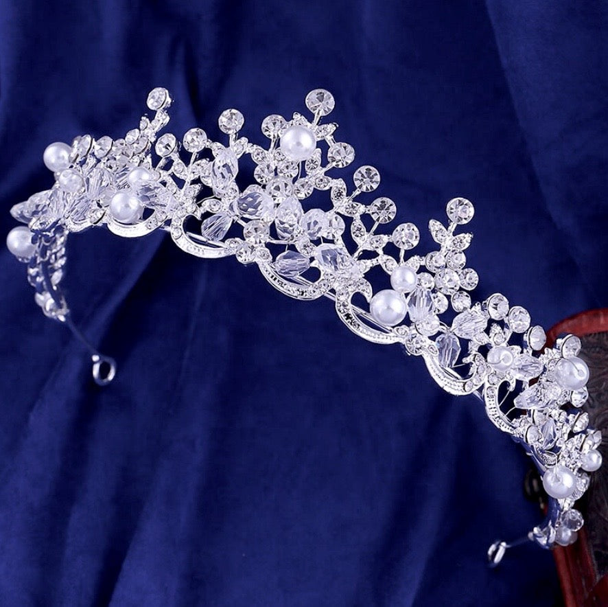 Wedding Hair Accessories - Wedding Pearl and Crystal Tiara