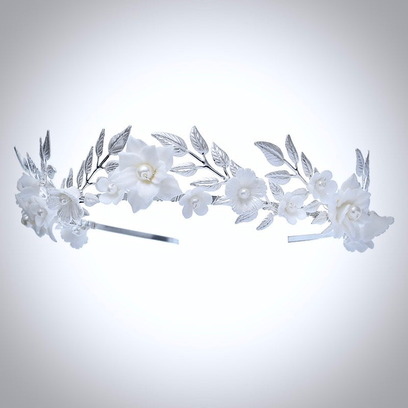 Wedding Hair Accessories - Ceramic Flowers and Pearls Silver Bridal Headband