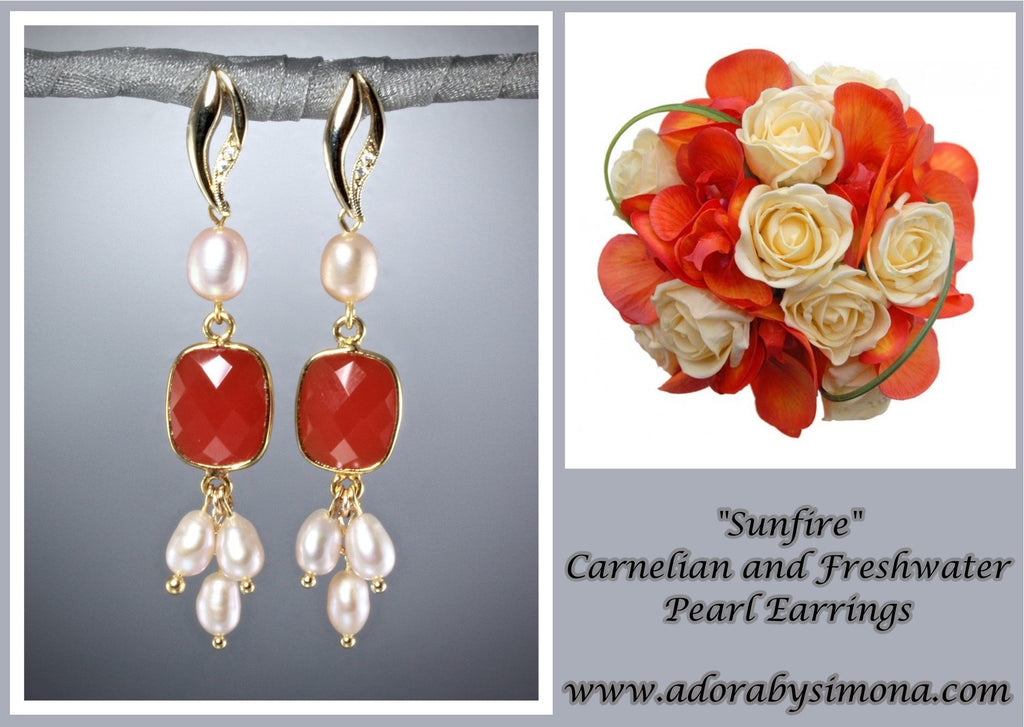 """Sunfire"" - Carnelian and Freshwater Pearl Earrings"