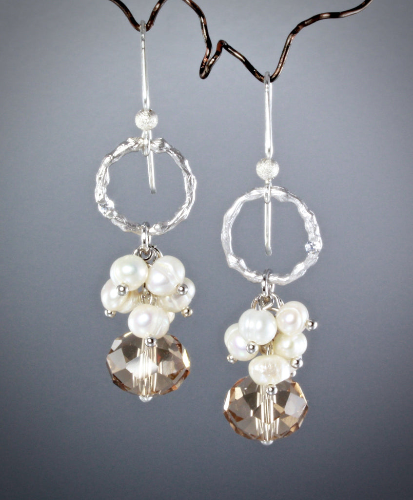 """Rain"" - Swarovski Crystal and Pearl Bridal Earrings"