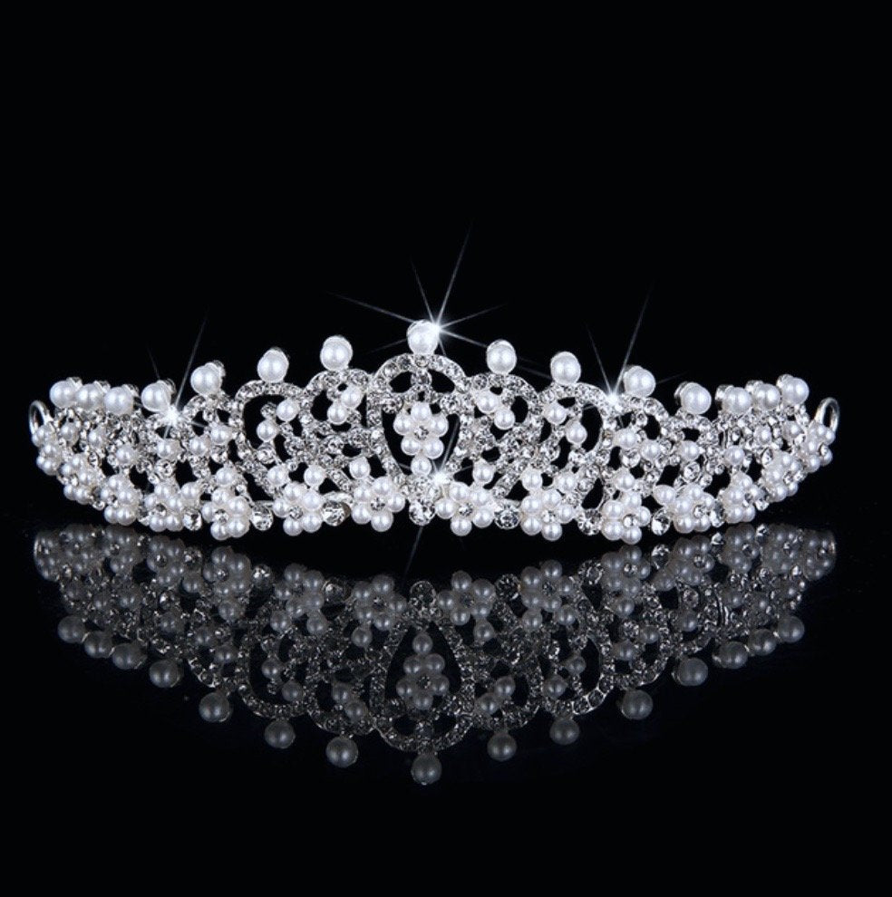 """Autumn"" - Wedding Pearl and Cubic Zirconia Tiara"