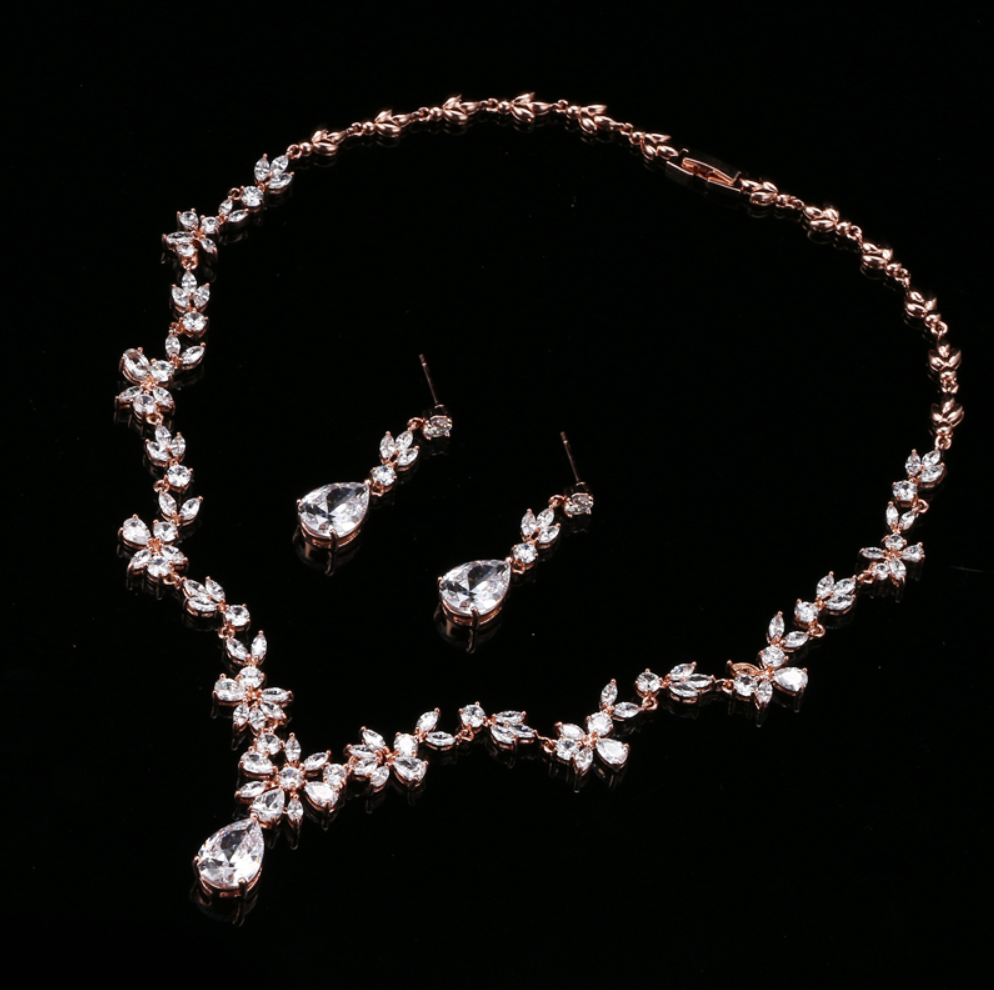 """Amber"" - Cubic Zirconia Bridal Jewelry Set - Available in Silver and Rose Gold"