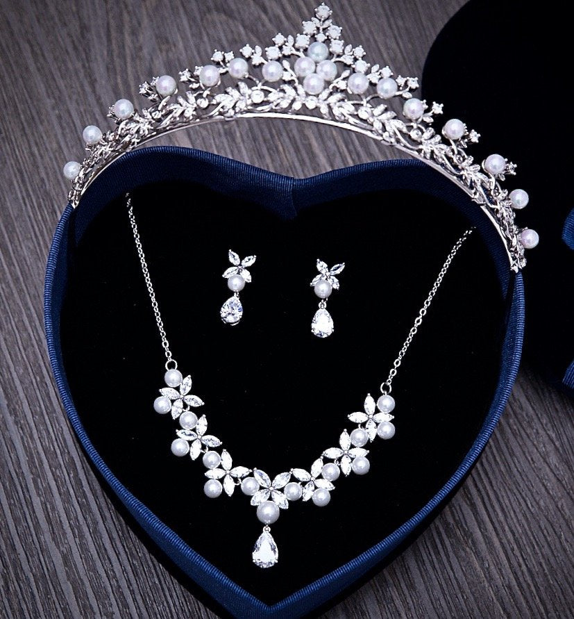 """Louise"" - Silver Cubic Zirconia and Pearl 3-Piece Bridal Jewelry Set With Tiara"