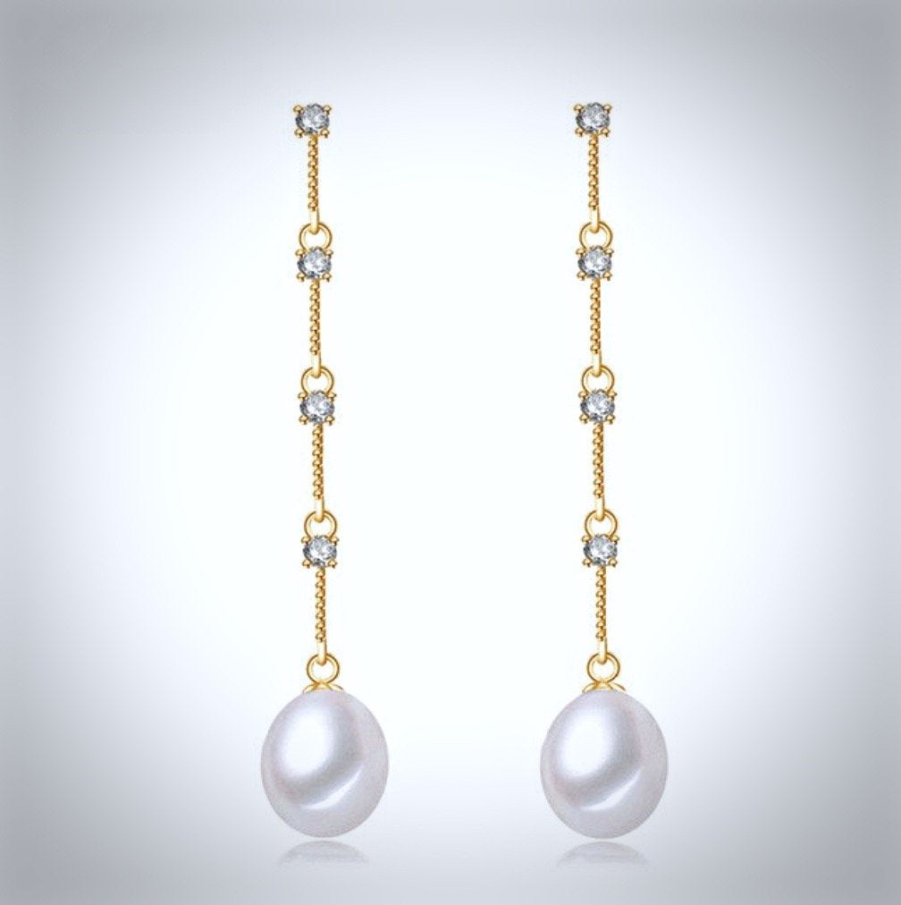 Wedding Jewelry - Pearl and Cubic Zirconia Bridal Earrings - Available in Silver and Yellow Gold