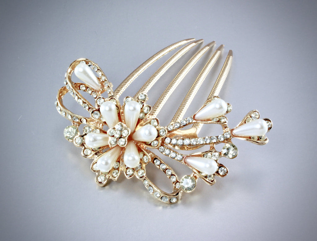 Wedding Hair Accessories - Pearl and Crystal Rose Gold Bridal Hair Comb