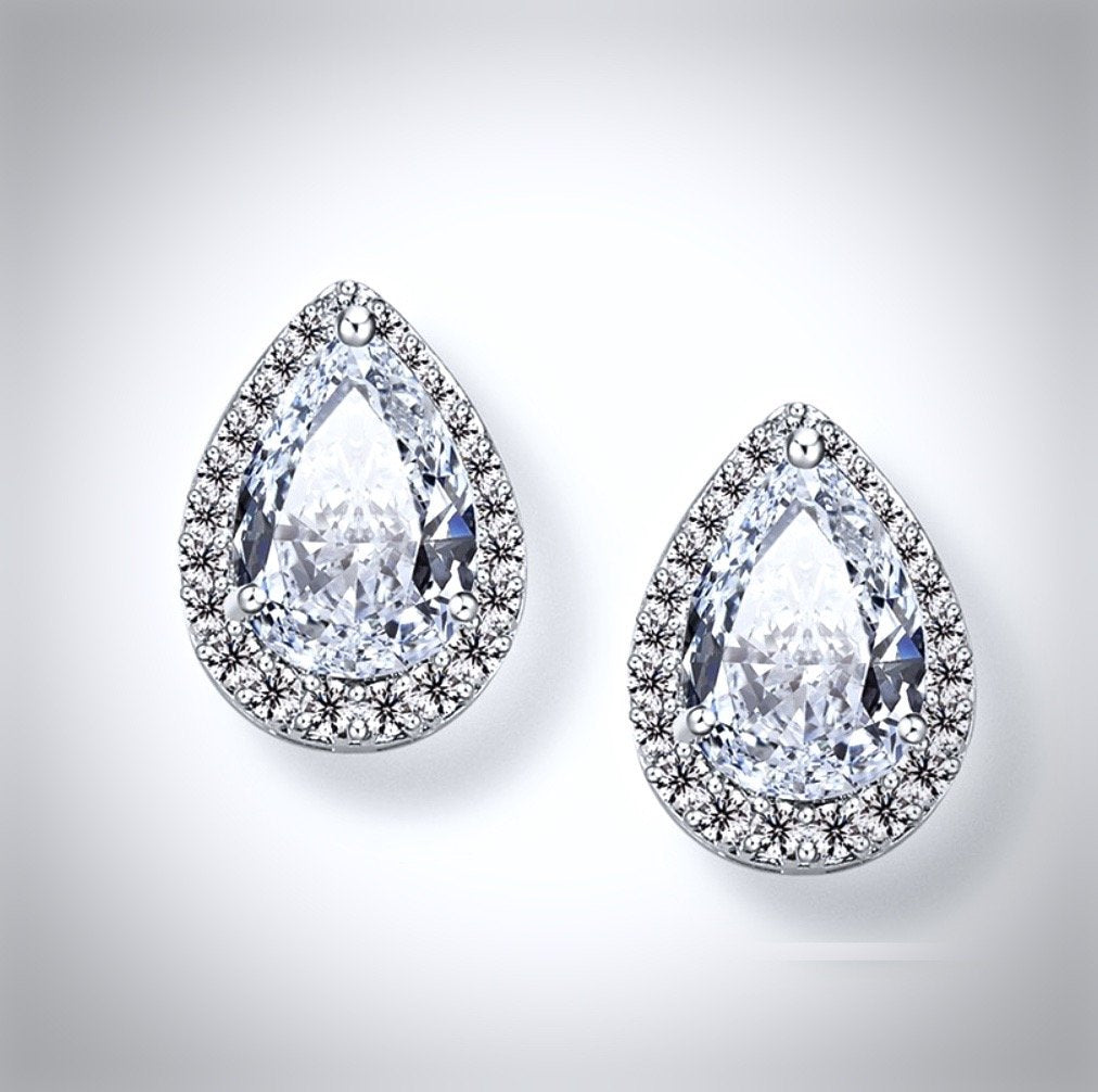 """Lyric"" - Cubic Zirconia Bridal Earrings - Available in Silver and Rose Gold"
