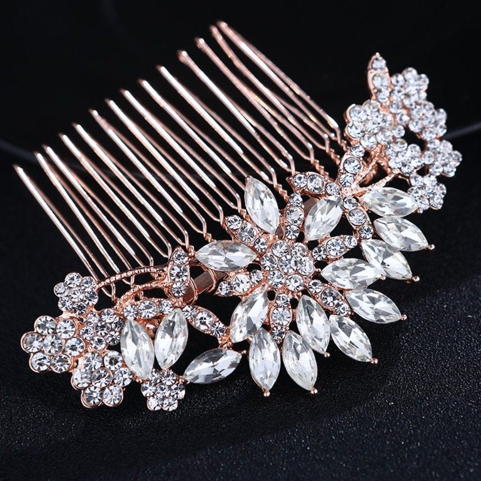 """Sylvia"" - Austrian Crystal Hair Comb - Available in Rose Gold and Silver"