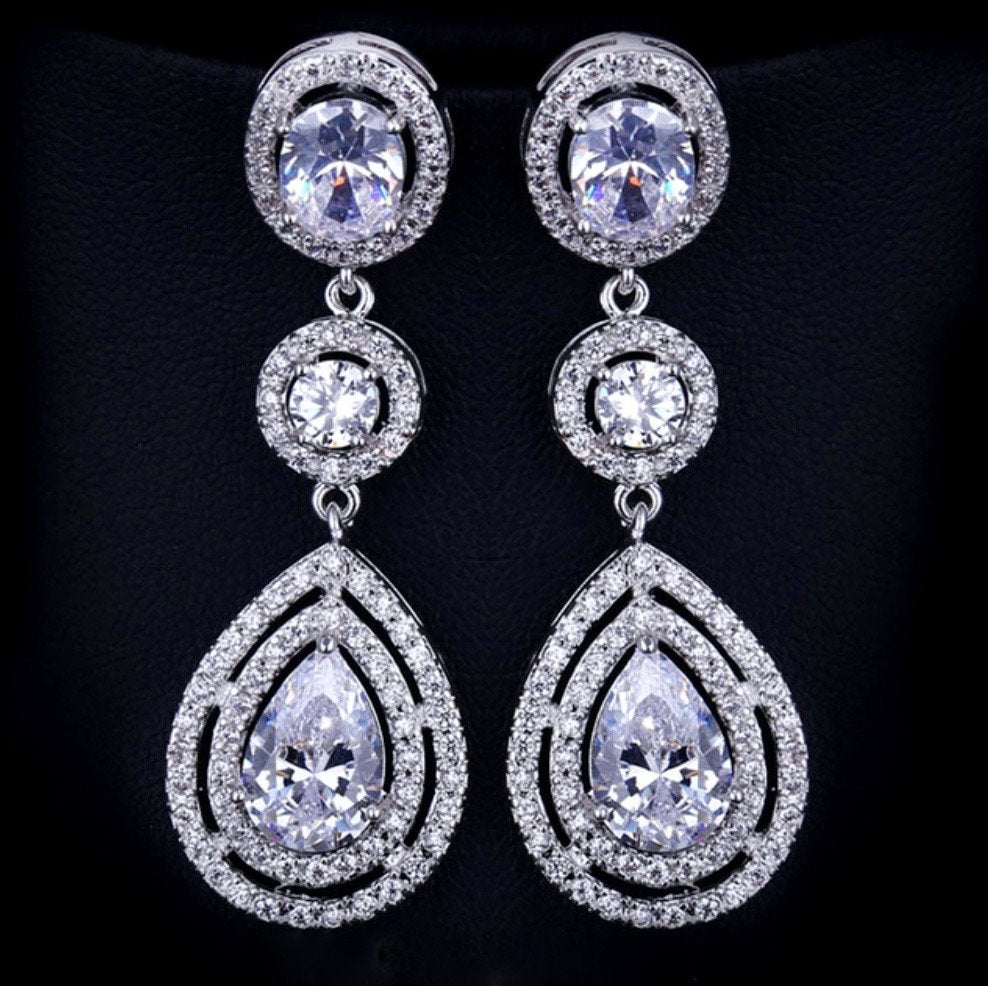 """Paige"" - Silver Cubic Zirconia Bridal Earrings"