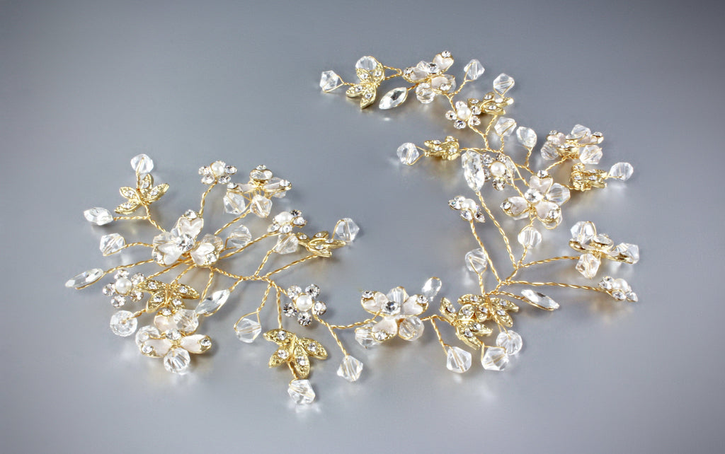 """Jasmine"" - Pearl and Crystal Bridal Hair Vine"