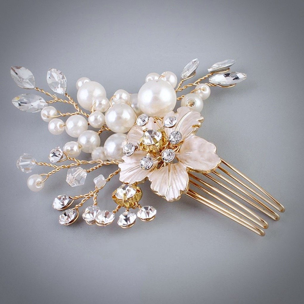 """Lorelei"" - Pearl and Crystal Bridal Hair Comb"