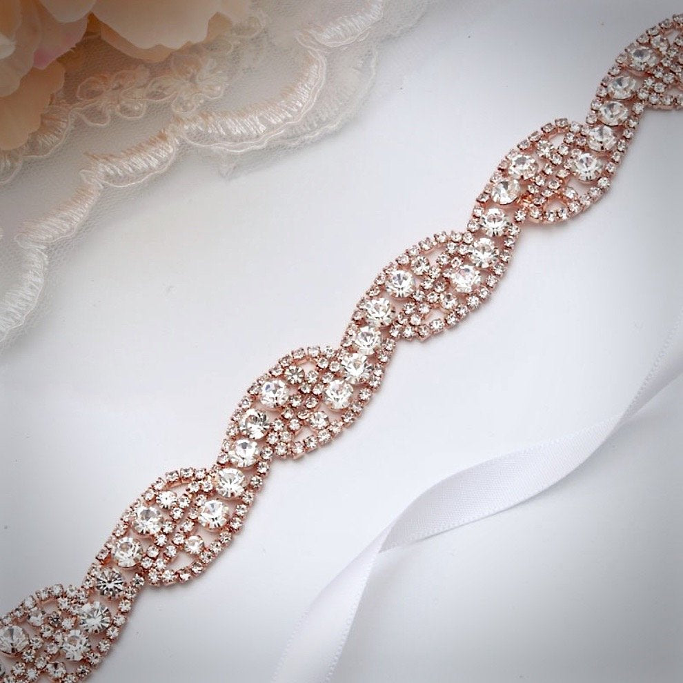Wedding Accessories - Rhinestone Bridal Belt/Sash - Available in Rose Gold and Silver