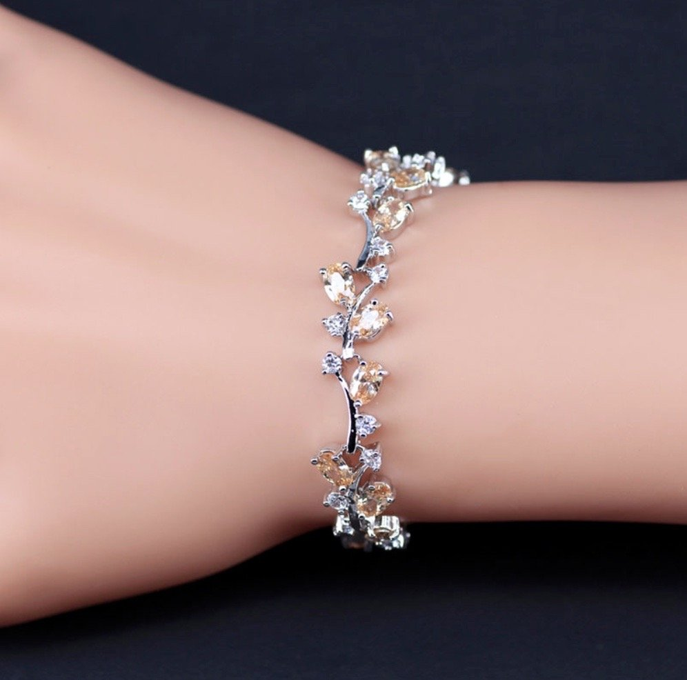 """Krista"" - Cubic Zirconia Bridal Bracelet - More colors available"