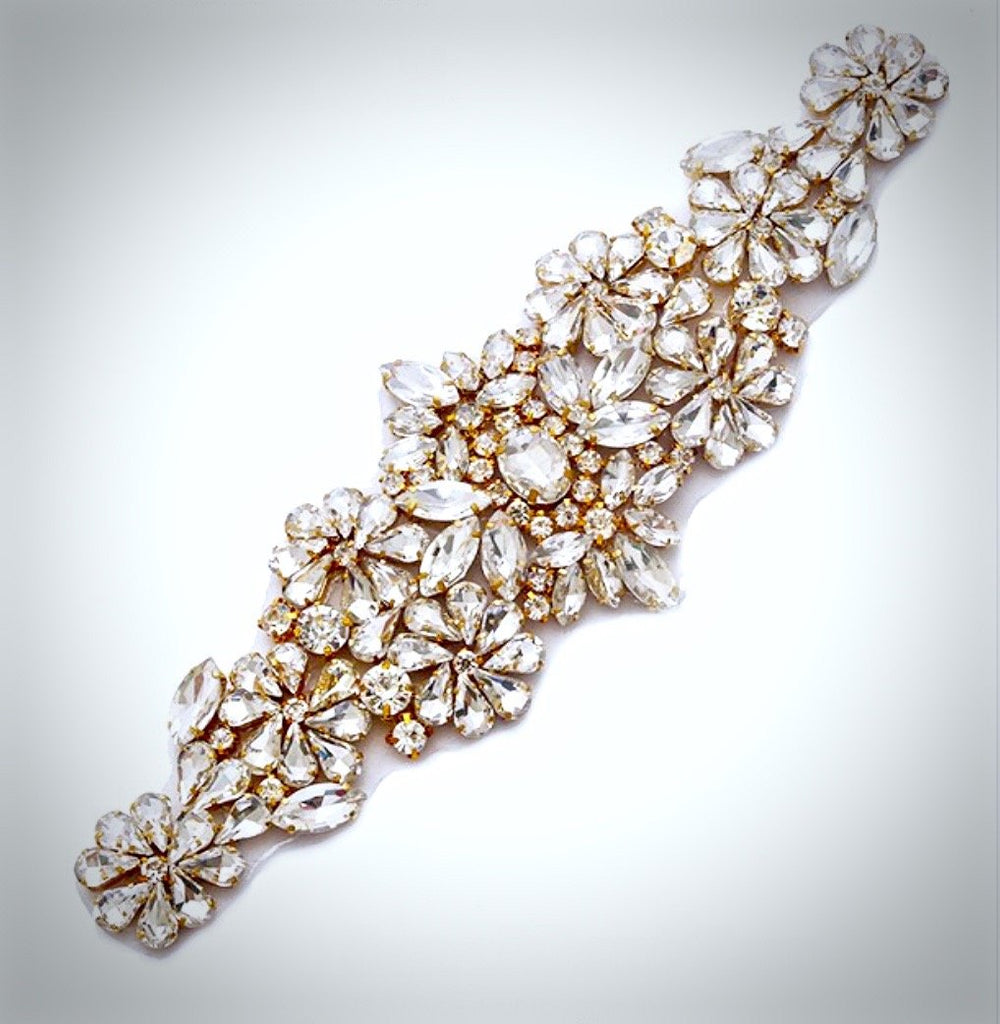 """Gwen"" - Gold Crystal Bridal Belt/Sash"