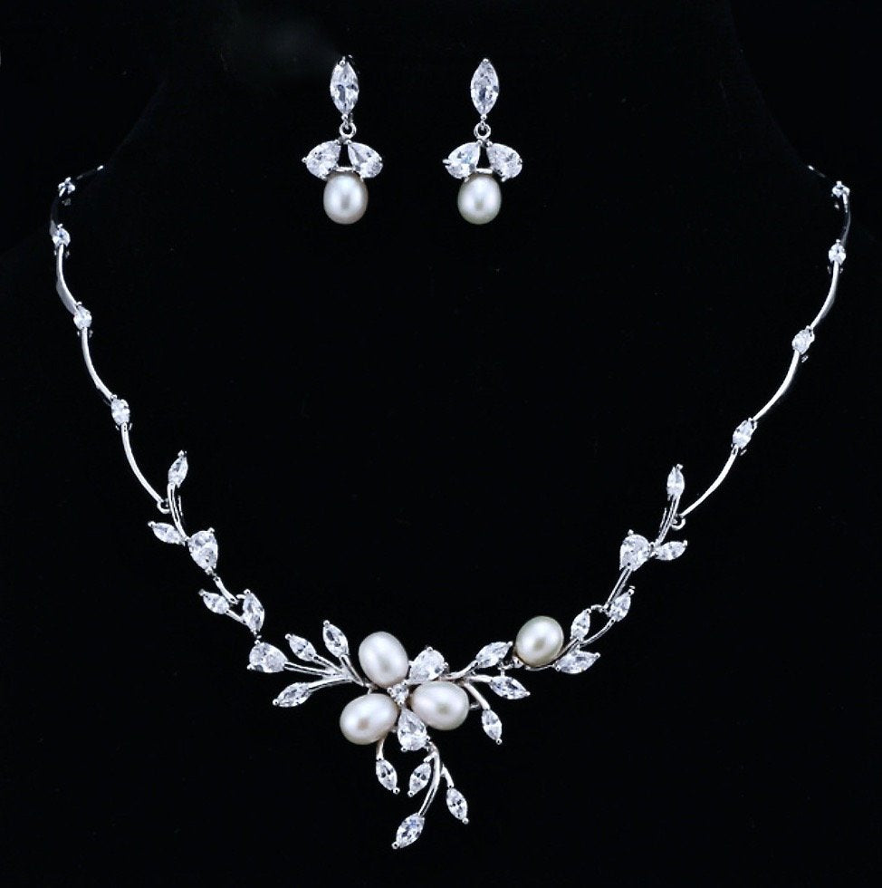 """Anna"" - Freshwater Pearl and Cubic Zirconia Bridal Necklace and Earrings Set"