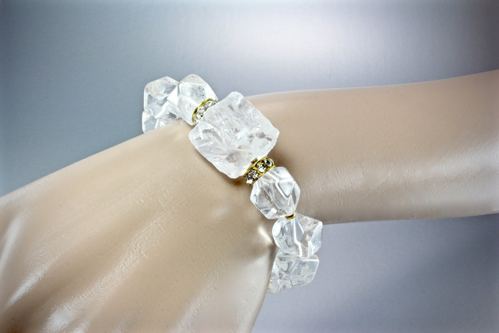 """Ice"" - Crystal Quartz Bridal Bracelet"
