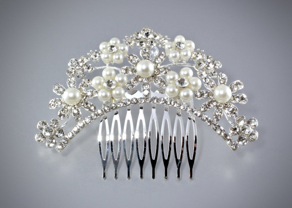 """Jacqueline"" - Pearl and Crystal Bridal Hair Comb"