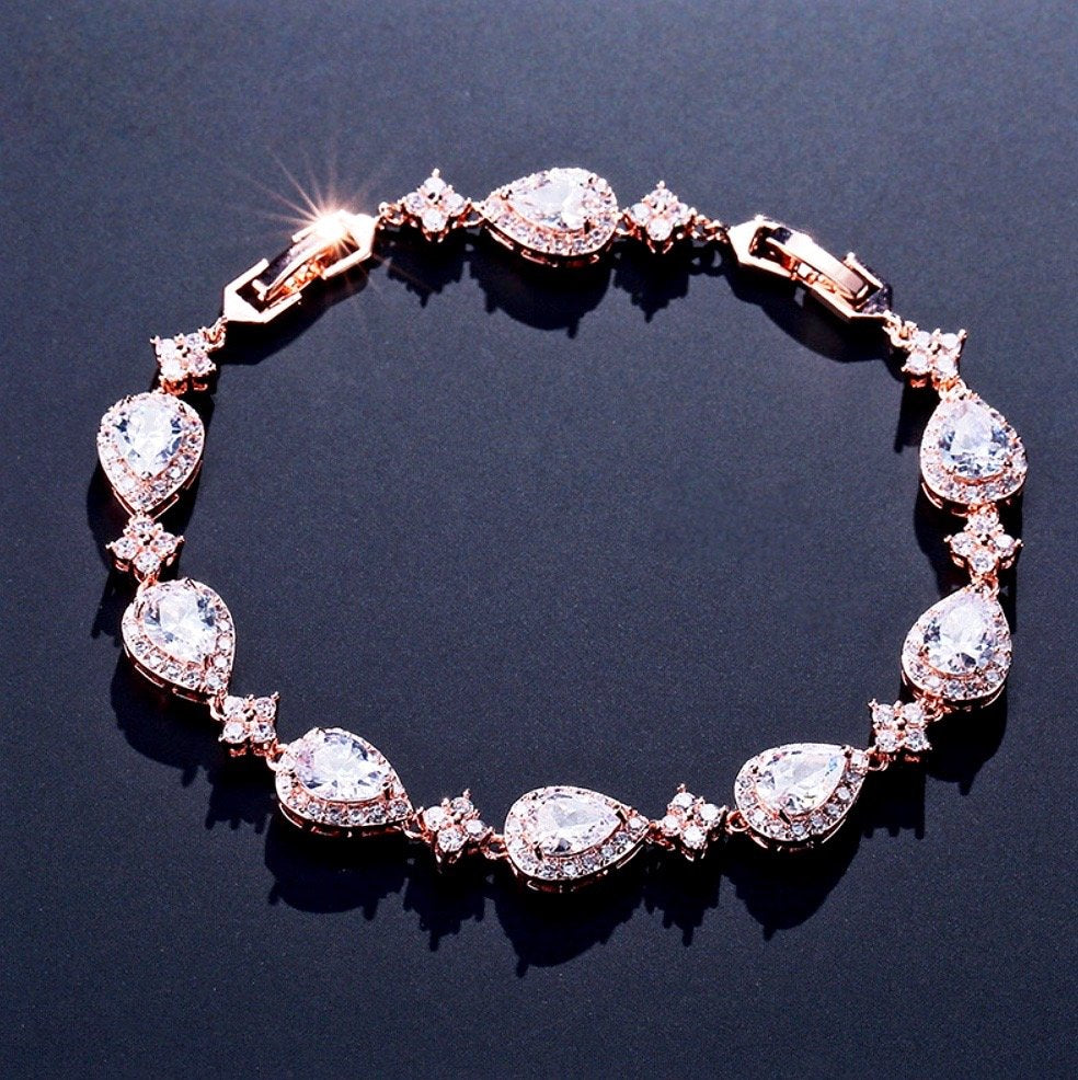 """Kay"" - Cubic Zirconia Bridal Bracelet - Available in Rose Gold, Silver and Blue"