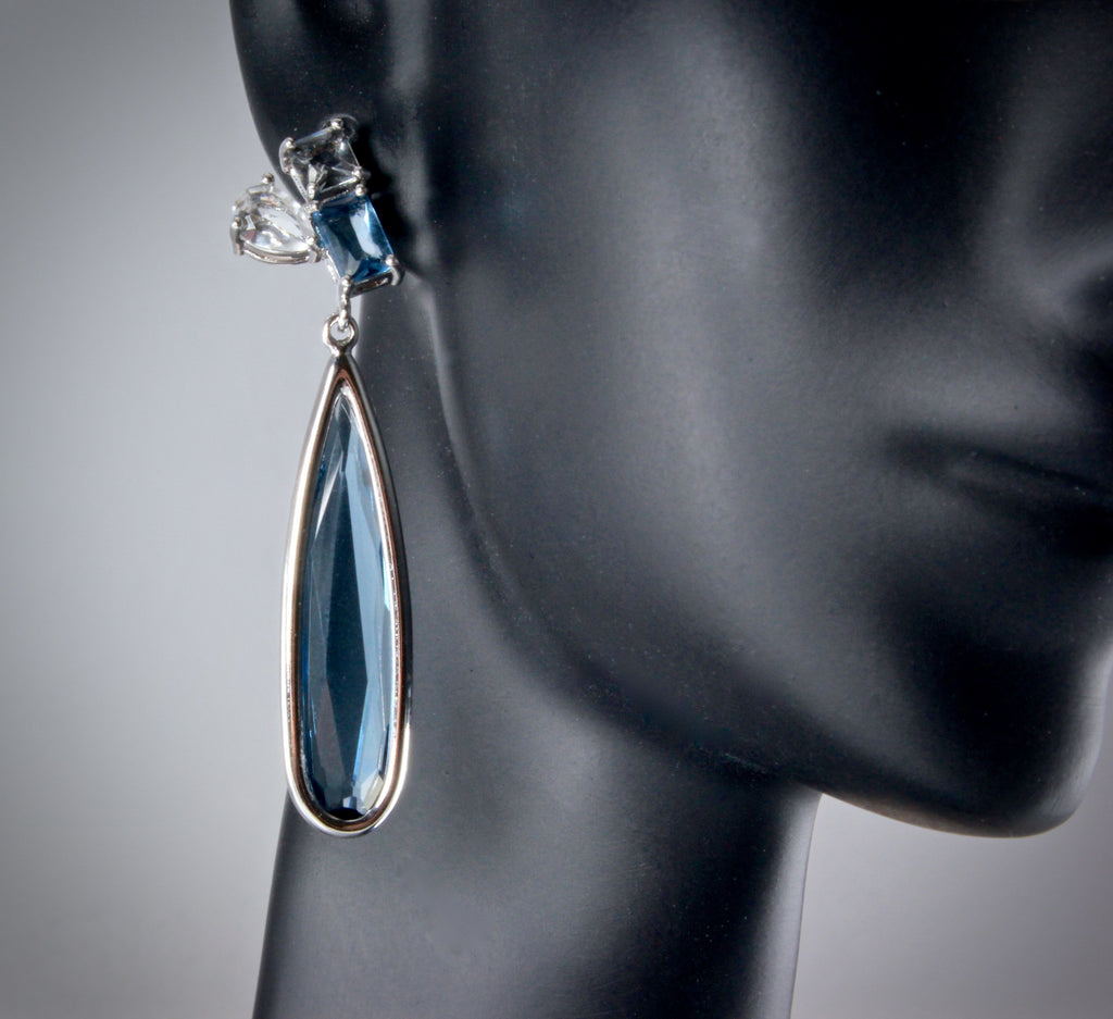 """Enya"" - Blue Marquise Cubic Zirconia Earrings"