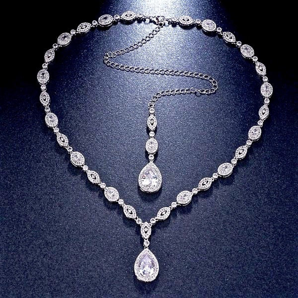 """Alexa"" - Cubic Zirconia Bridal Backdrop Necklace - Available in Rose Gold and Silver"