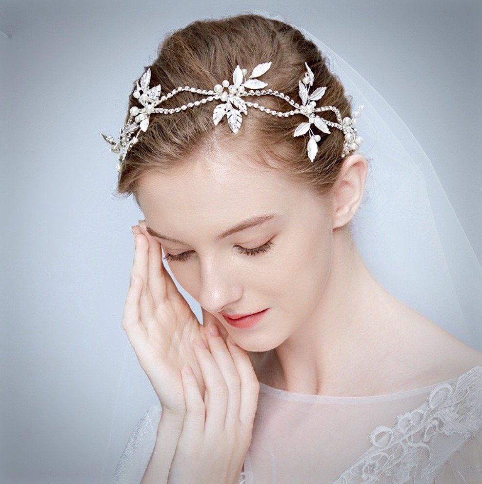 """Melanie"" - Silver Pearl and Crystal Bridal Headband"