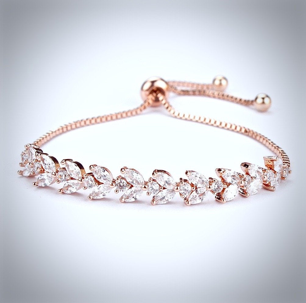"""Sydney"" - Cubic Zirconia Adjustable Bracelet - Available in Rose Gold and Silver"