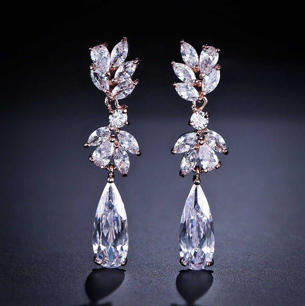 """Gemma"" - Cubic Zirconia Bridal Earrings - Available in Rose Gold and Silver"