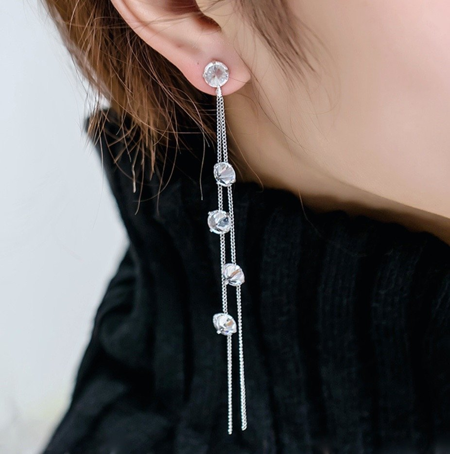 """Lola"" - Cubic Zirconia Long Bridal Earrings"
