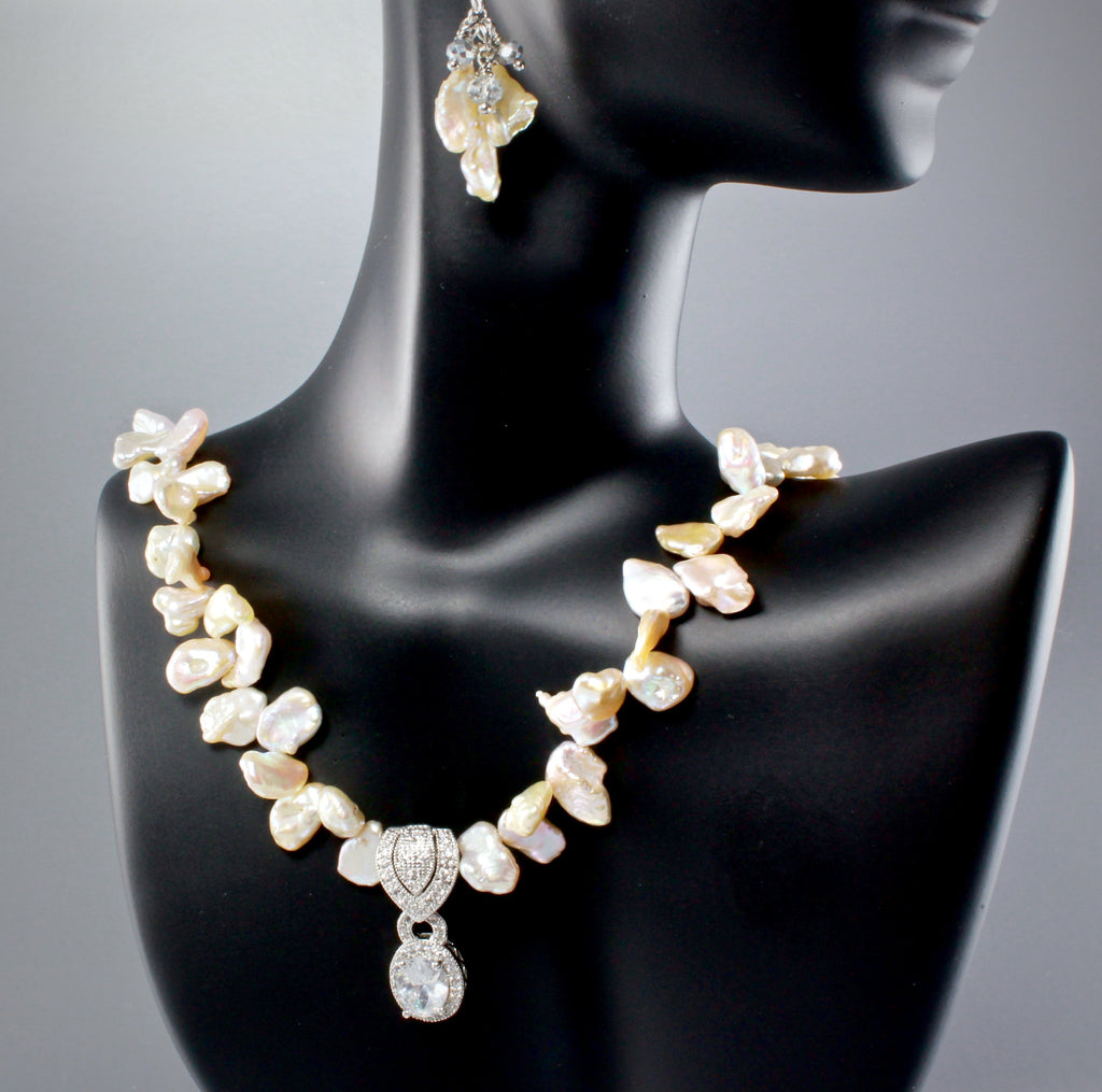 """Bella"" - Keshi Pearls and Cubic Zirconia Bridal Necklace and Earrings Set"