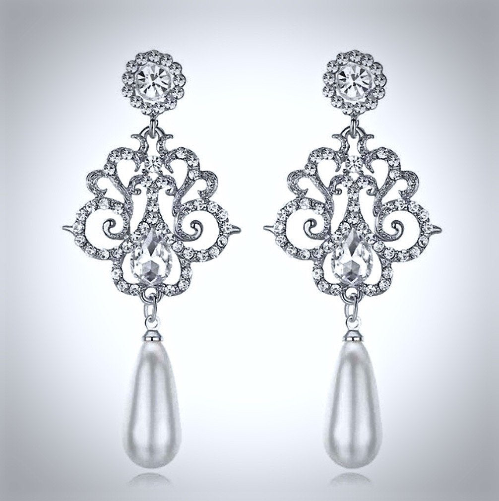 Wedding Jewelry - Pearl and Crystal Bridal Earrings - Available in Silver and Yellow Gold