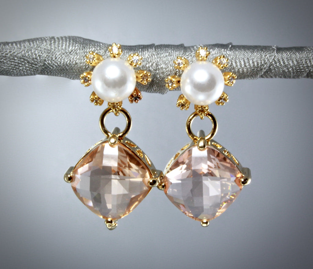 """Alanna"" - Crystal and Pearl Gold Earrings - More Colors Available"