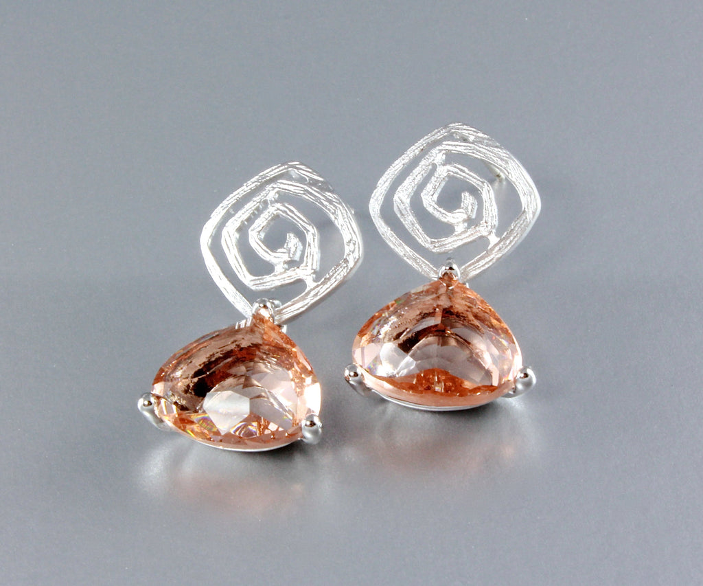 """Electra"" - Trillion-Cut Cubic Zirconia Earrings"
