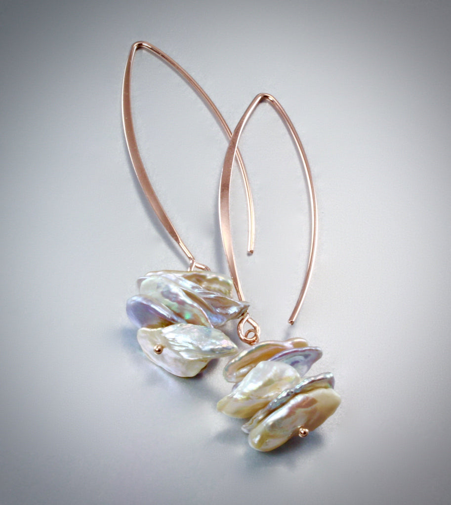 """Kayla"" - Keshi Pearl and Rose Gold Bridal Earrings"