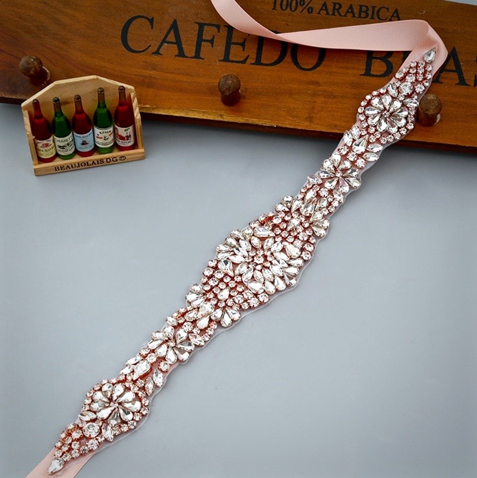 Wedding Accessories - Wedding Rose Gold Crystal Belt/Sash